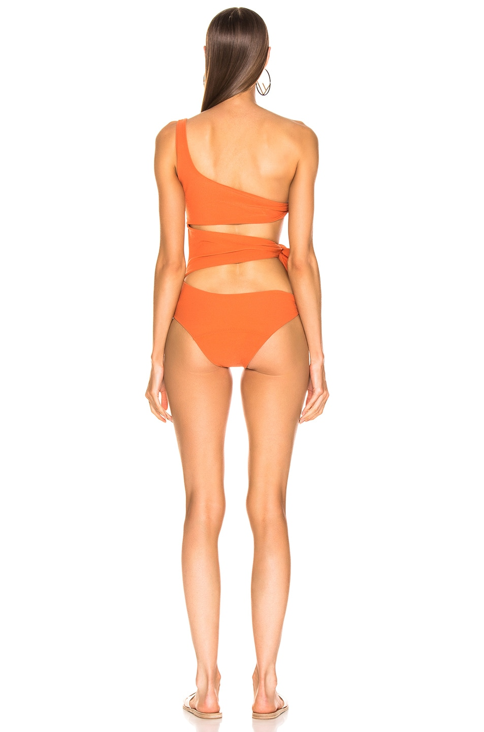 Image 4 of Lisa Marie Fernandez Bianca Crepe Maillot Swimsuit in Terracotta