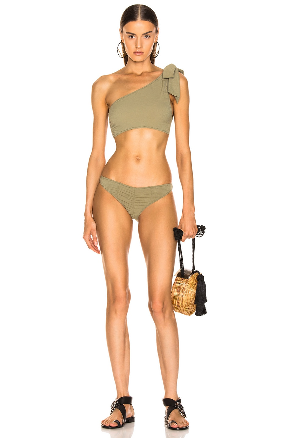 Image 1 of Lisa Marie Fernandez Arden Ruched Tie Bikini in Olive Crepe