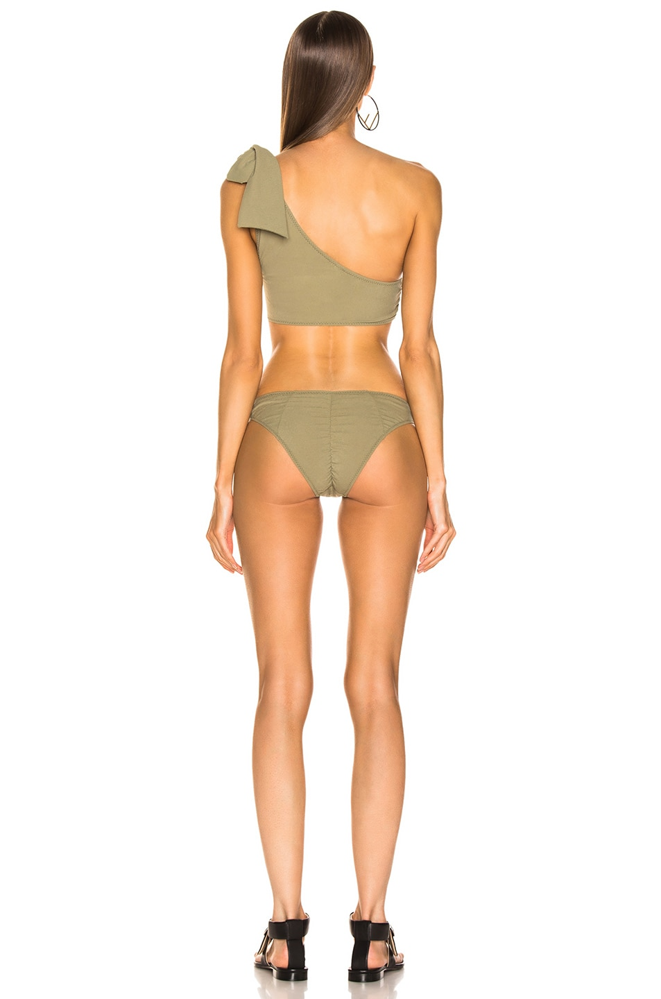 Image 3 of Lisa Marie Fernandez Arden Ruched Tie Bikini in Olive Crepe