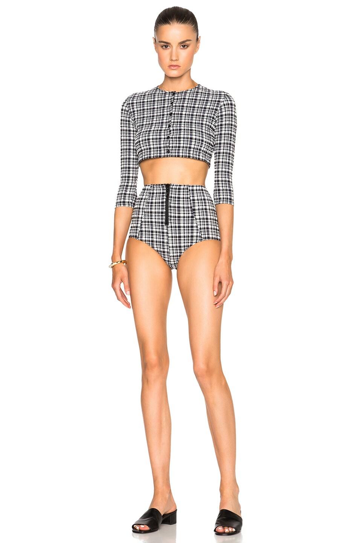c8987551e886f Image 2 of Lisa Marie Fernandez Poppy Bikini Set in Black Plaid