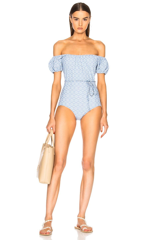 e4dbcc5a178 Image 1 of Lisa Marie Fernandez Leandra Two Tone Swimsuit in Cornflower