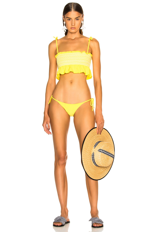 Image 1 of Lisa Marie Fernandez Selena Smocked Bikini Set in Lemon
