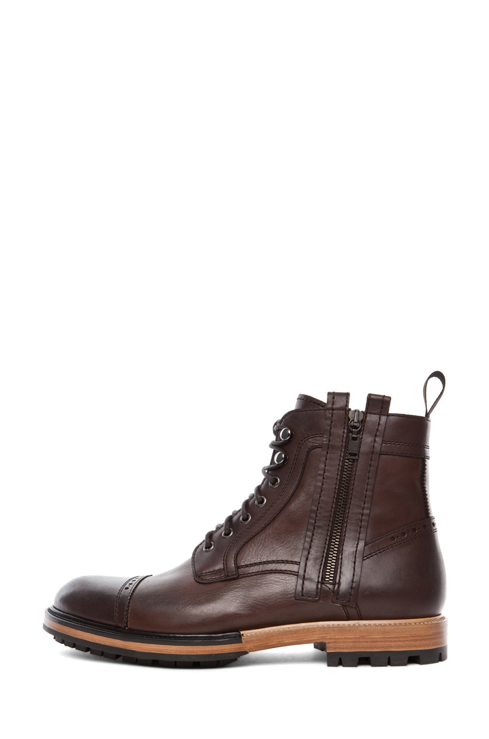 Image 1 of Lanvin Lace Up Boots in Dark Brown