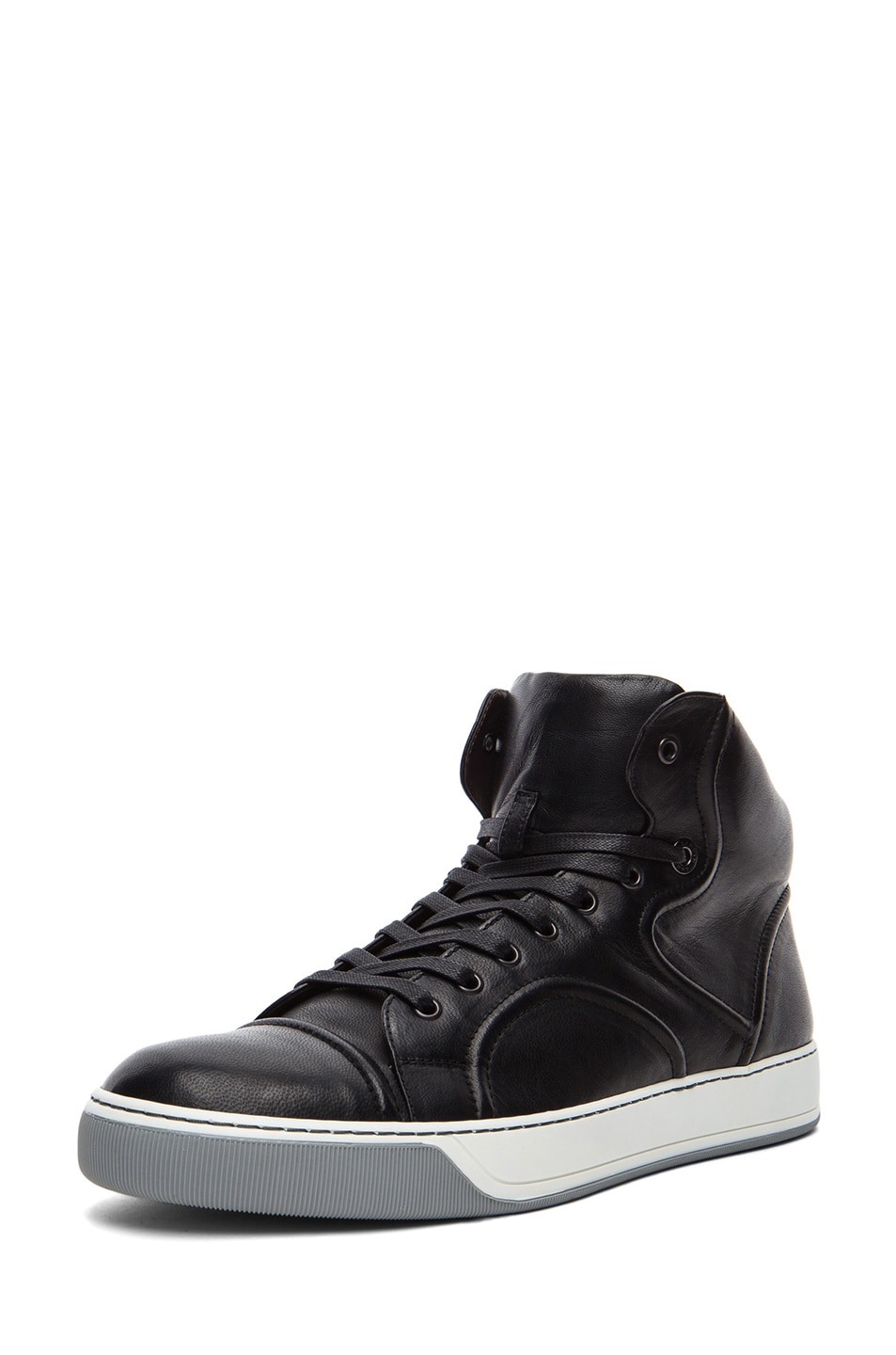 98c2c5ffe7 Image 1 of Lanvin Relie Nappa Lambskin Leather Mid High Top Sneakers in  Black