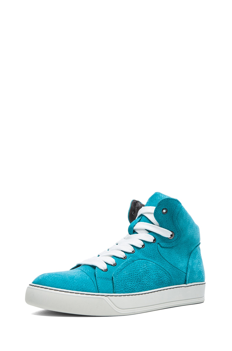 Image 1 of Lanvin Nubucked Bull Calf Mid Top Sneakers in Turquoise