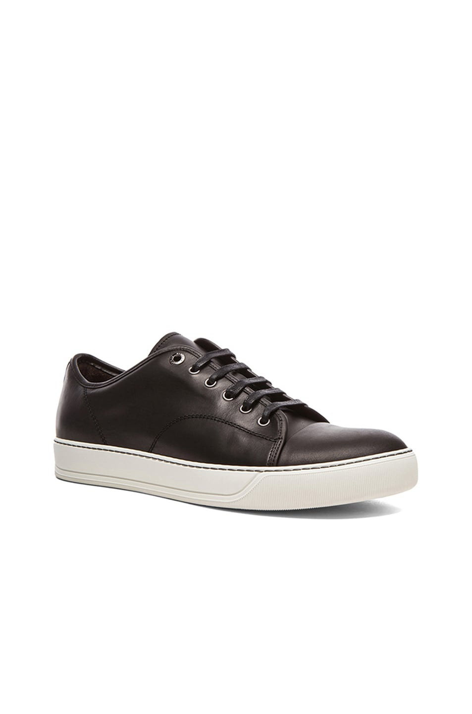 Image 1 of Lanvin Polished Calfskin Low Top Sneakers in Black