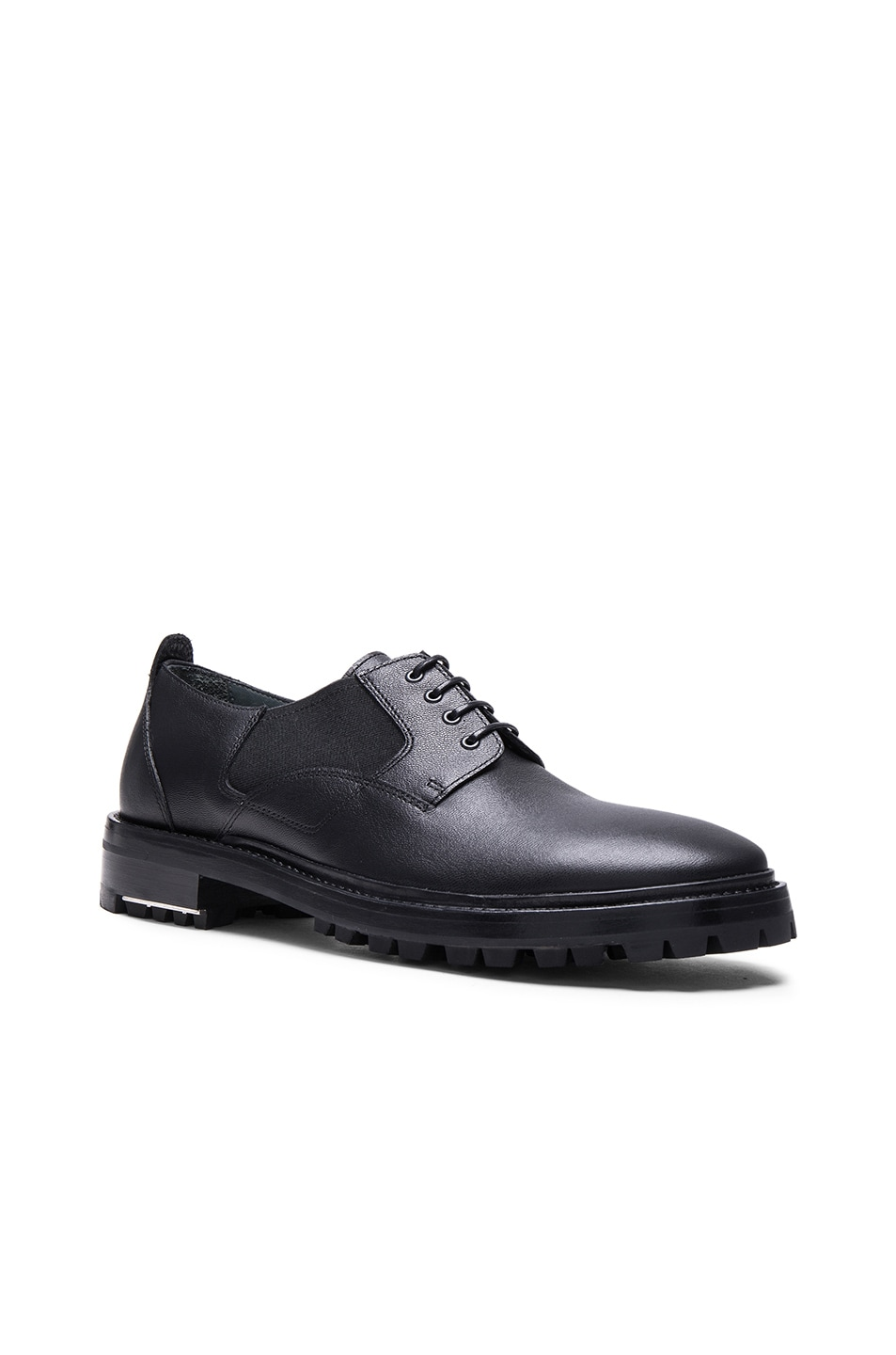 Image 1 of Lanvin Shiny Derbies with Elastic Details in Black