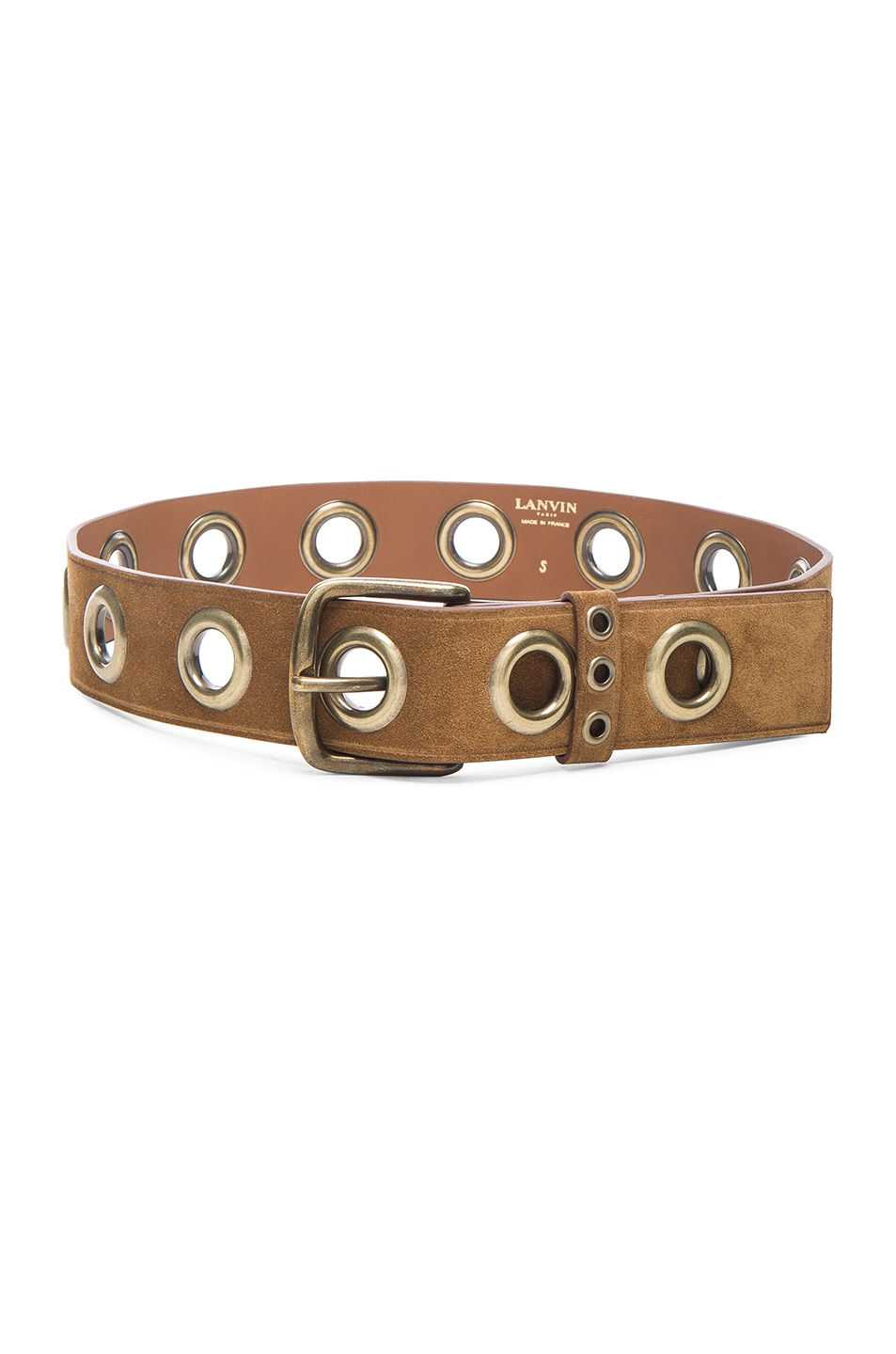 Image 1 of Lanvin Eyelet Suede Belt in Camel