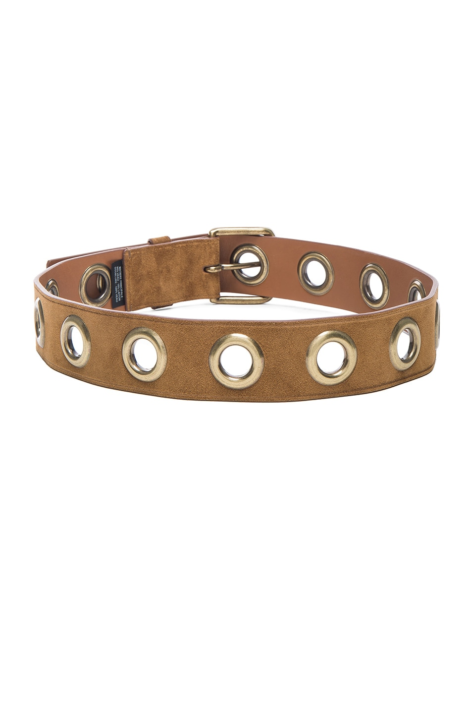 Image 3 of Lanvin Eyelet Suede Belt in Camel