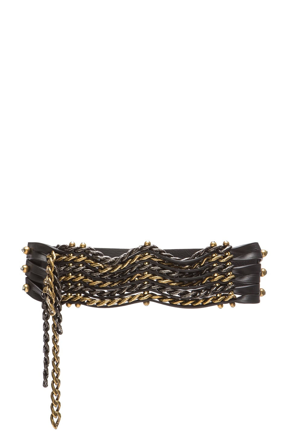 Image 1 of Lanvin Leather Chain Belt in Silver & Bronze