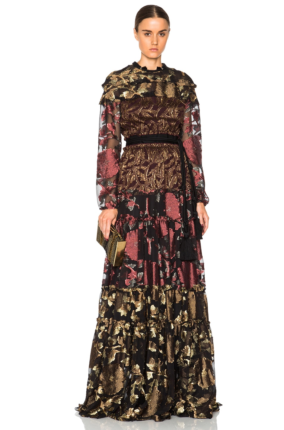 Image 1 of Lanvin Embroidered Silk Maxi Dress in Terracotta