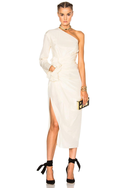 Image 1 of Lanvin One Shoulder Silk Dress in Ivory