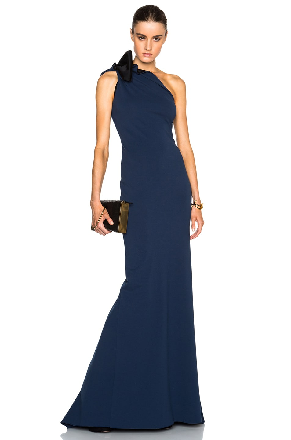 Image 1 Of Lanvin One Shoulder Gown With Bow Detail In Ocean Blue