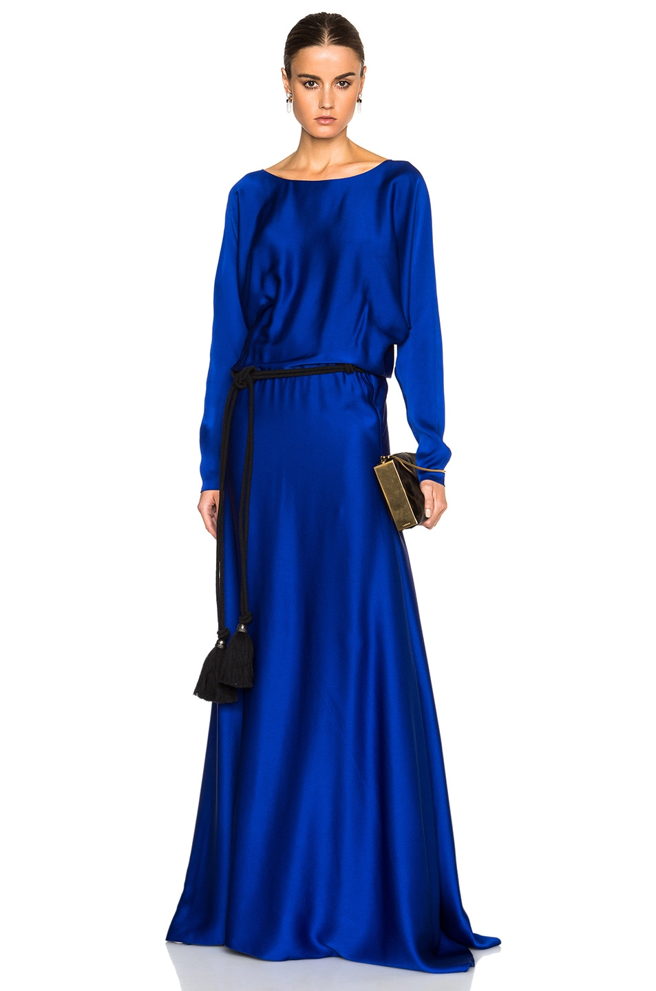 Image 1 Of Lanvin Long Sleeve Viscose Gown In Royal Blue