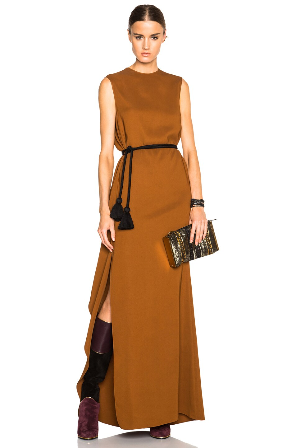 Image 1 of Lanvin Soft Ruffle Slit Maxi Dress in Cinnamon