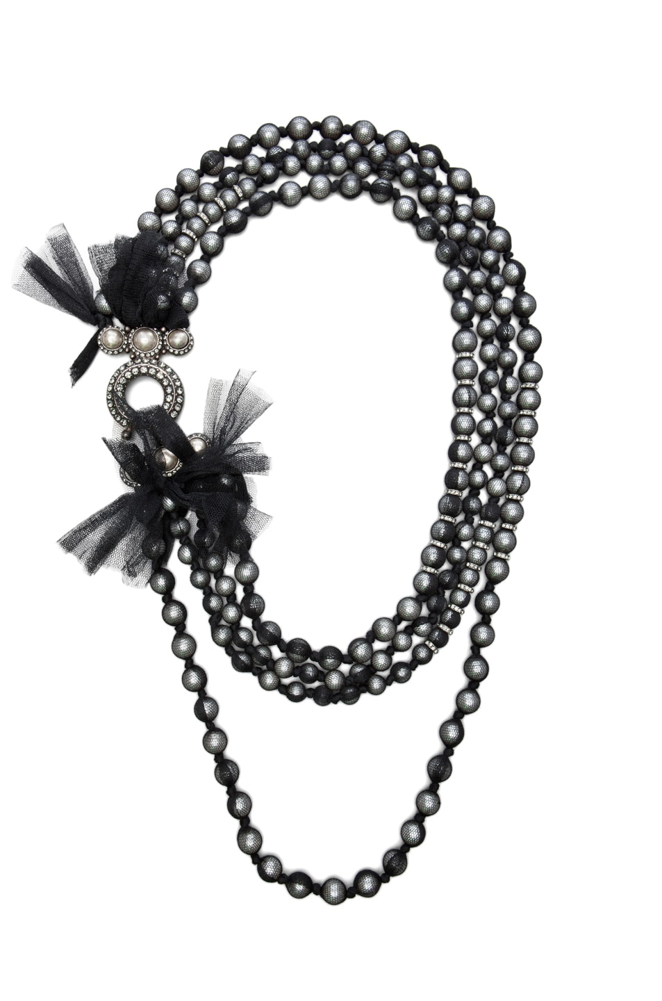 Image 1 of Lanvin 10 Year Anniversary Pearl Necklace in Black