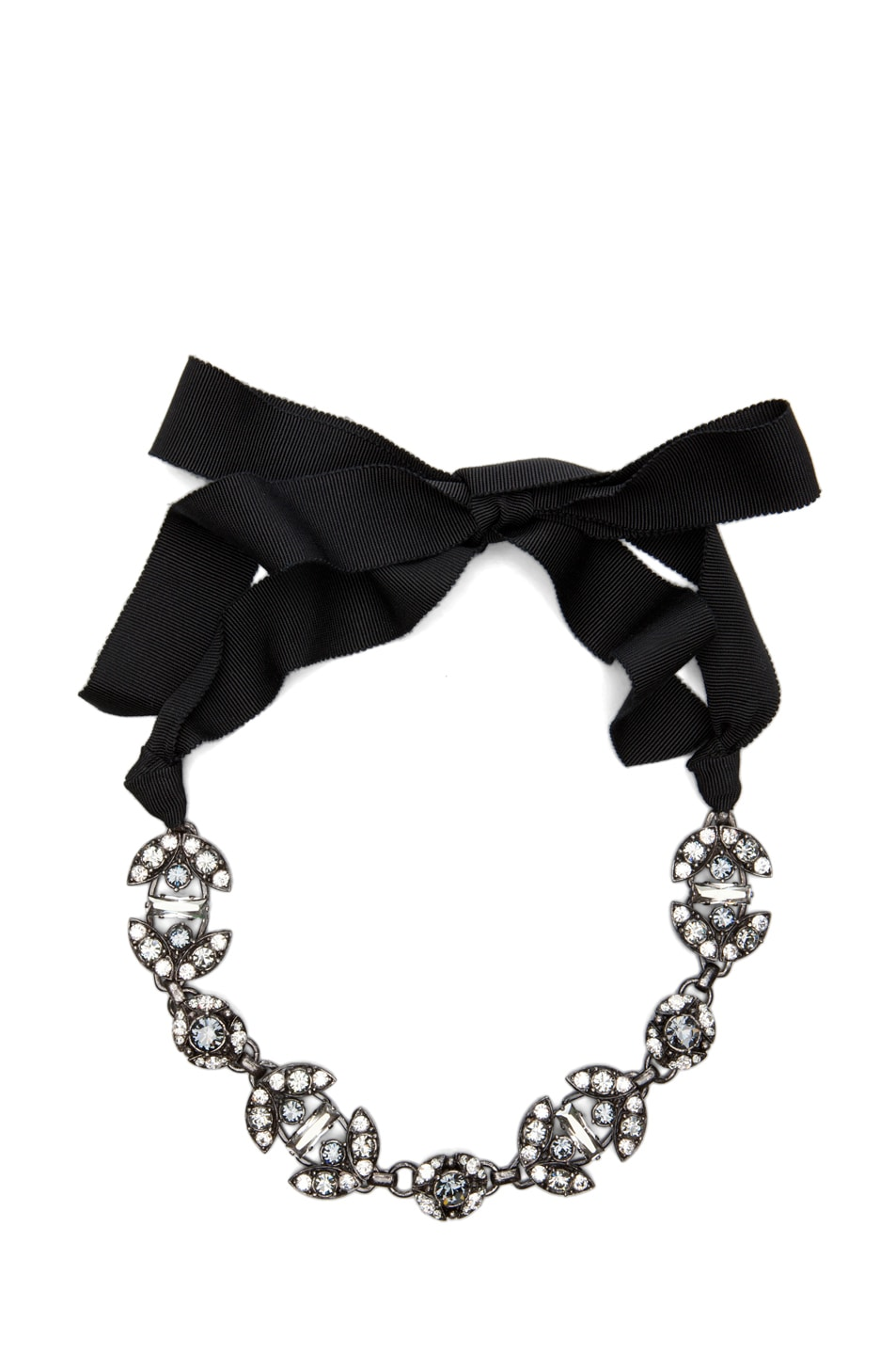 Image 1 of Lanvin Rhinestone Necklace in Antique Silver