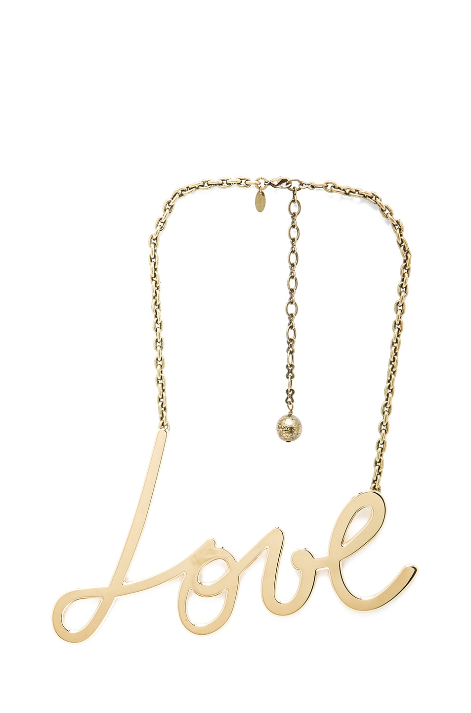 Image 1 of Lanvin Love Pendant Brass Necklace in Gold