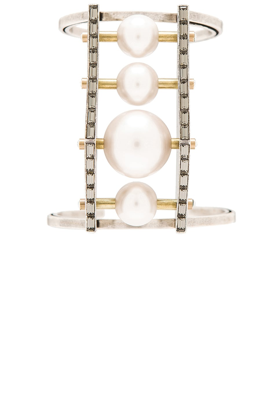 Image 1 of Lanvin Pearl Hardware Cuff in Crystal