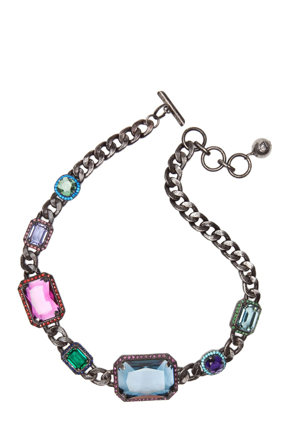Image 1 of Lanvin Jeweled Choker Necklace in Aged Silver