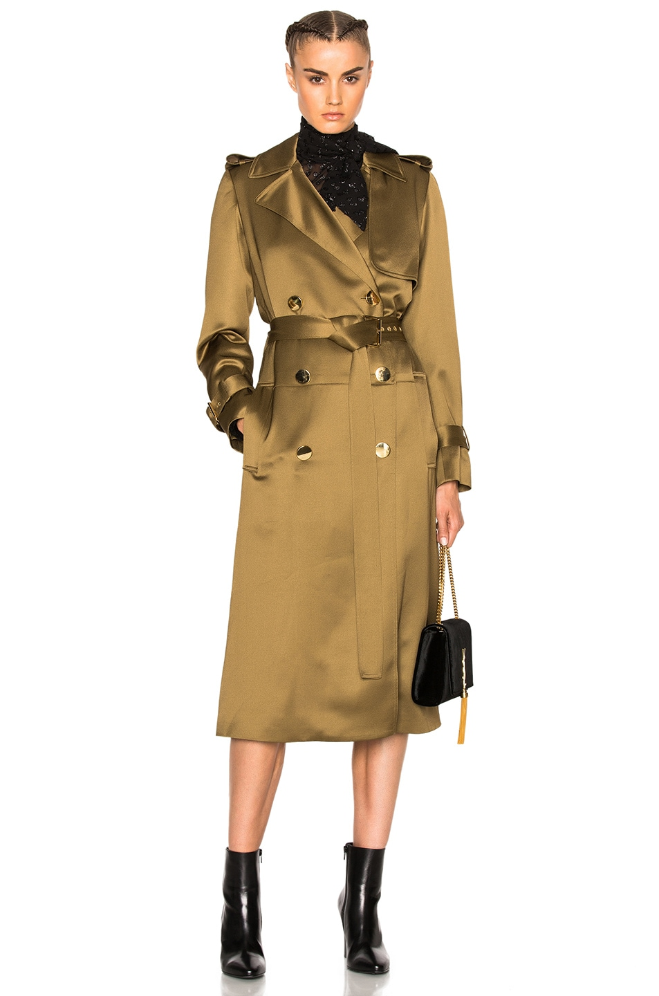 Image 1 of Lanvin Wool Viscose Trench Coat in Light Khaki