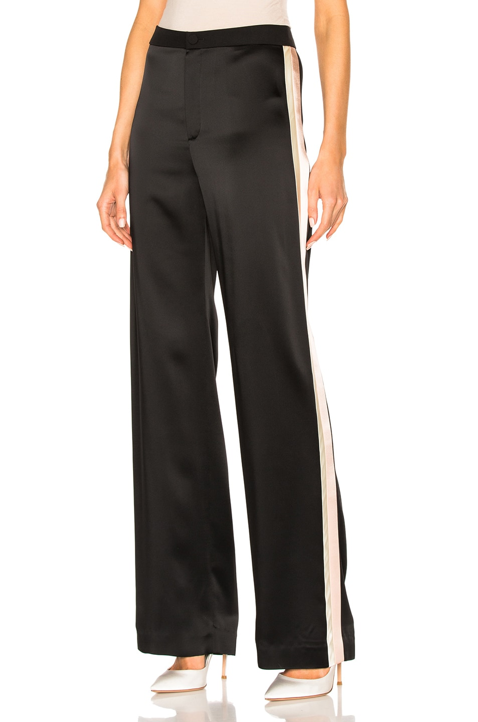 Image 1 of Lanvin Track Stripe Trousers in Black