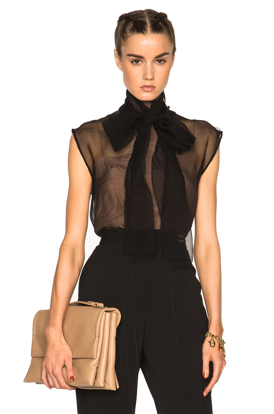 Image 1 of Lanvin Bow Neck Blouse in Black