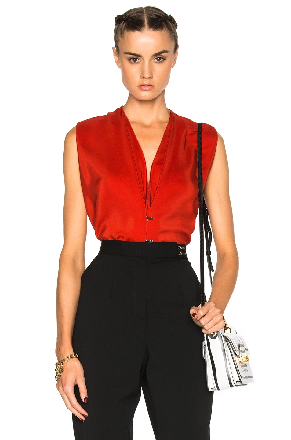 Image 1 of Lanvin Silk V Neck Blouse in Dark Orange