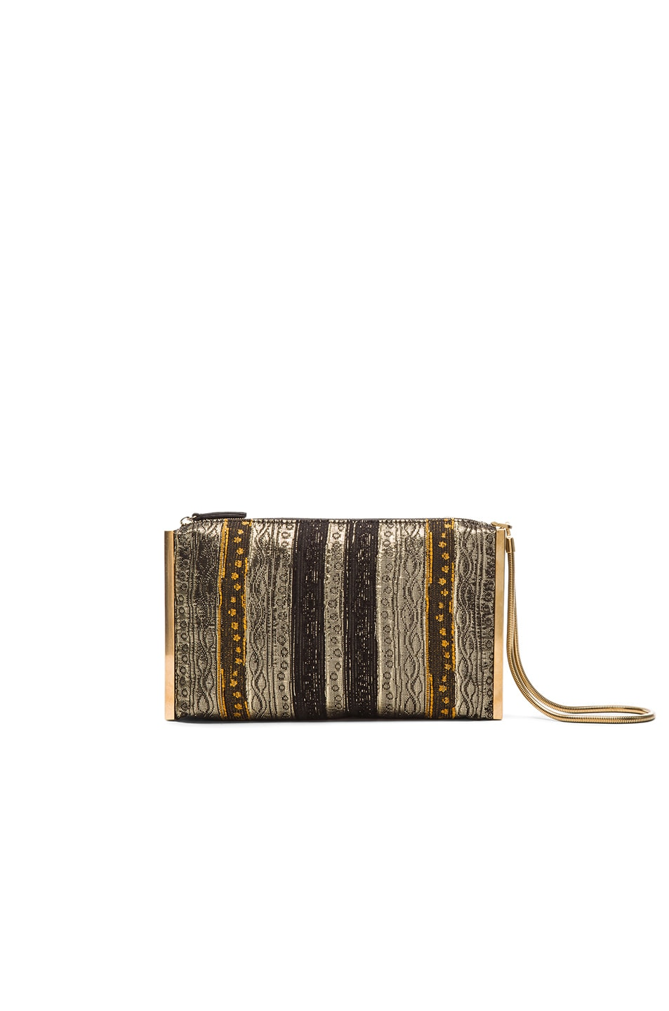 Image 1 of Lanvin Brocade Private Clutch in Gold