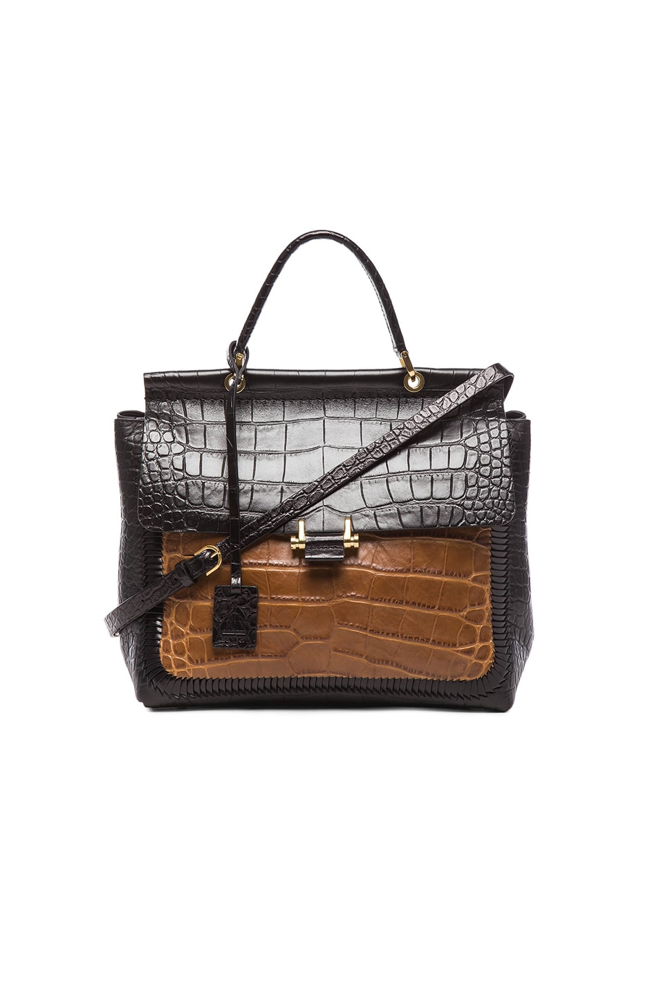 Image 1 of Lanvin Braided Essential Textured Crossbody in Camel