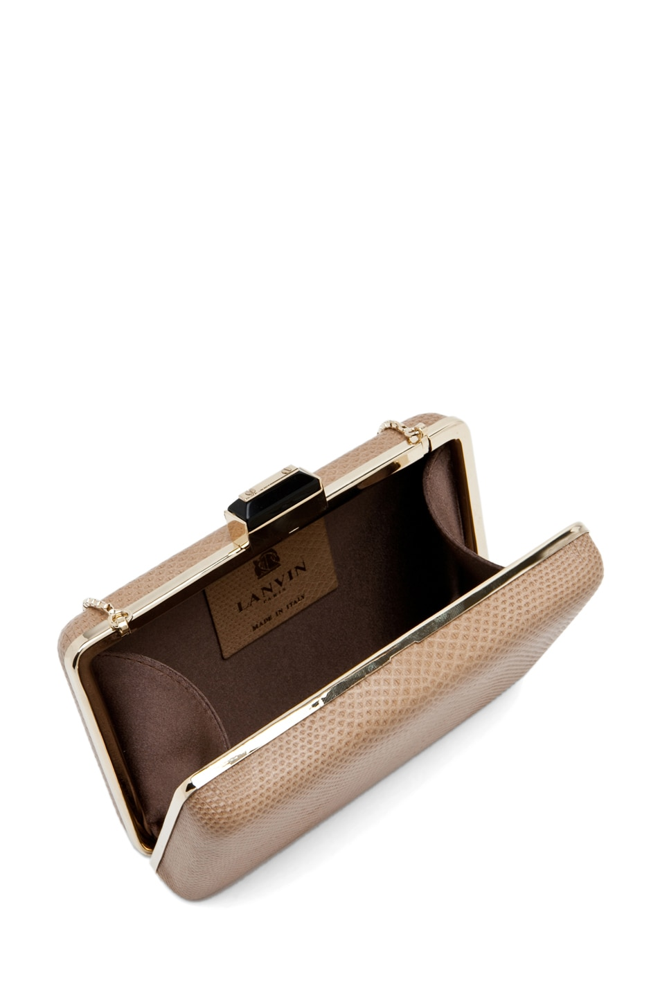 Image 4 of Lanvin Mini Serpent Clutch in Beige
