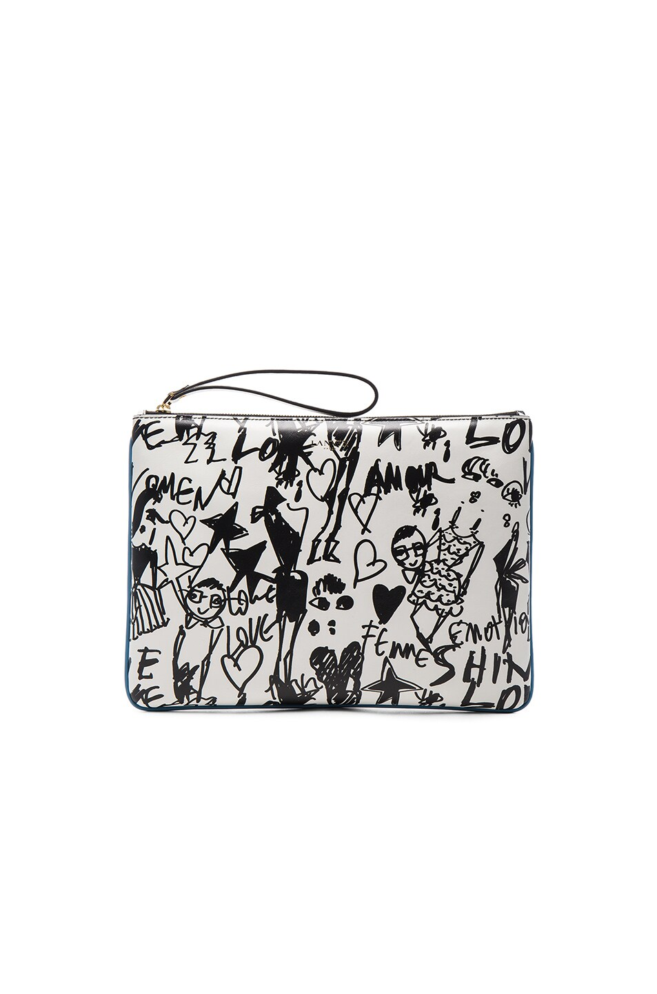 Image 1 of Lanvin Large Silhouette Print Pouch in Black & White
