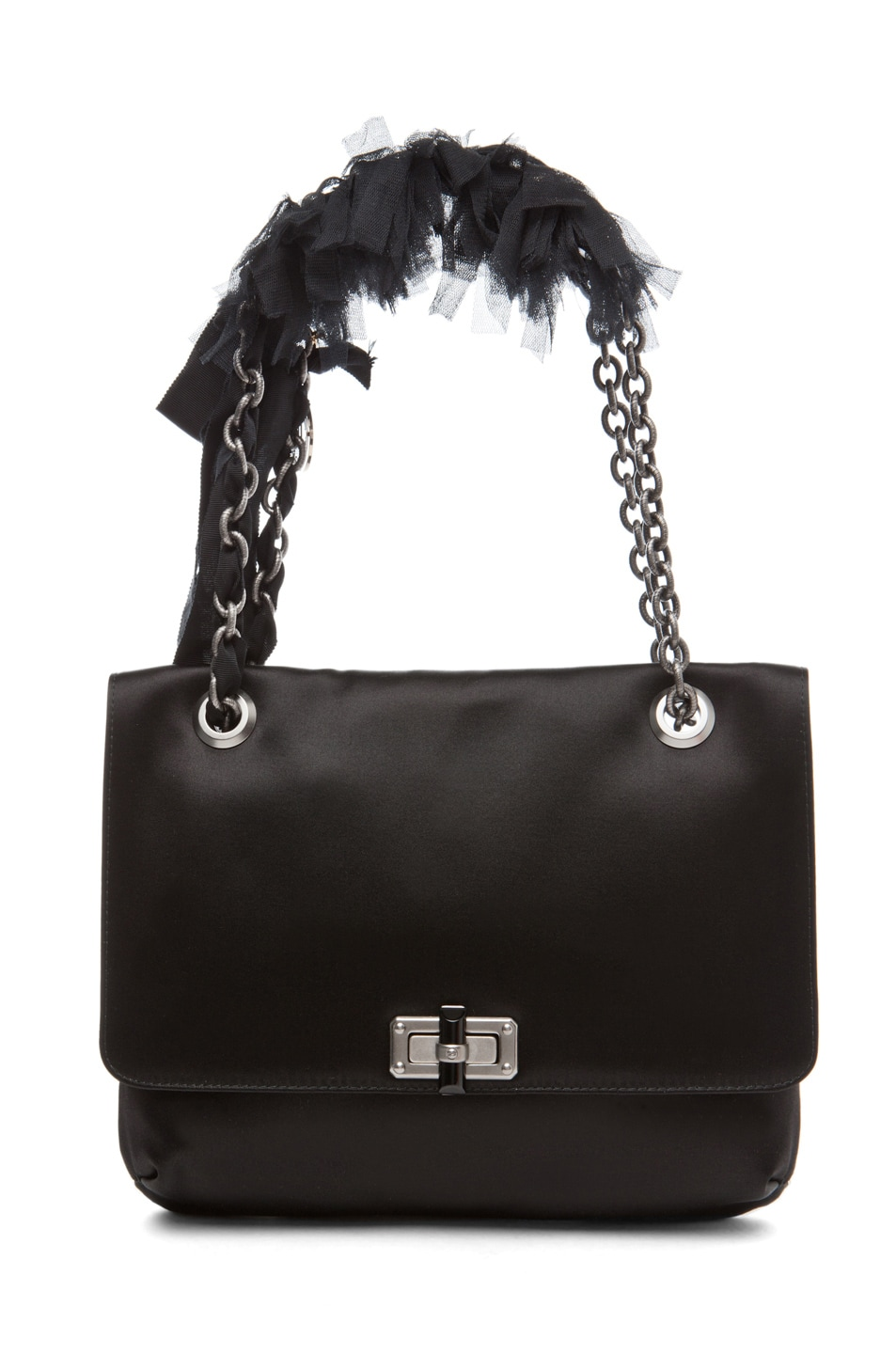 Image 1 of Lanvin 10 Year Anniversary Tulle Happy Handbag in Black