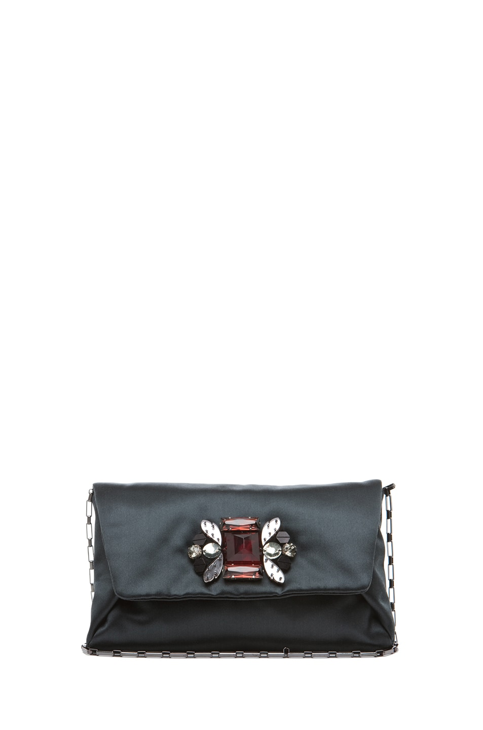Image 1 of Lanvin Satin Dinner Clutch in Grey