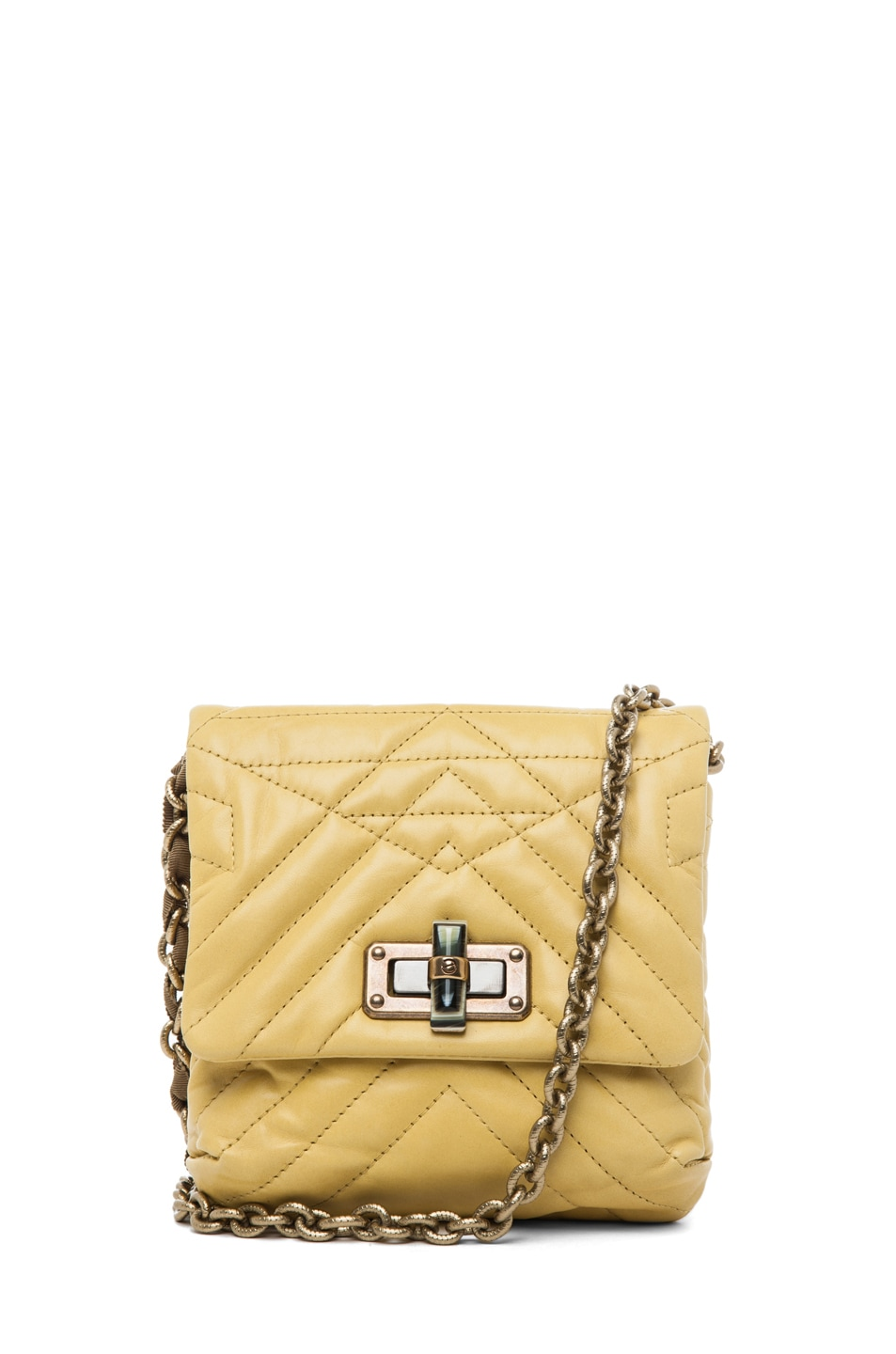 Image 1 of Lanvin Mini Pop Happy Quilted Shoulder Bag in Yellow