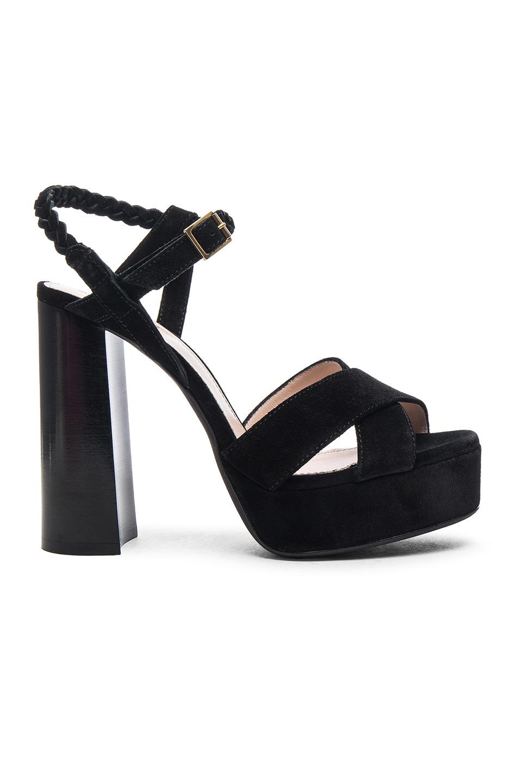 5db1e26b900 Image 1 of Lanvin Suede Platform Sandals in Black
