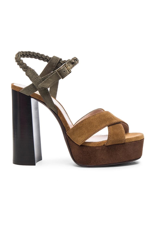 Image 1 of Lanvin Suede Platform Sandals in Camel