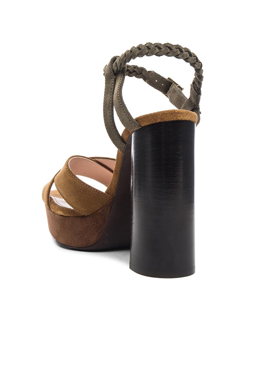 Image 3 of Lanvin Suede Platform Sandals in Camel