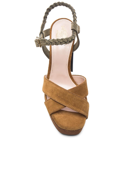 Image 4 of Lanvin Suede Platform Sandals in Camel