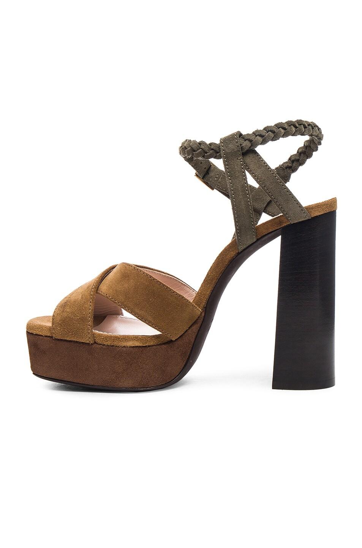 Image 5 of Lanvin Suede Platform Sandals in Camel
