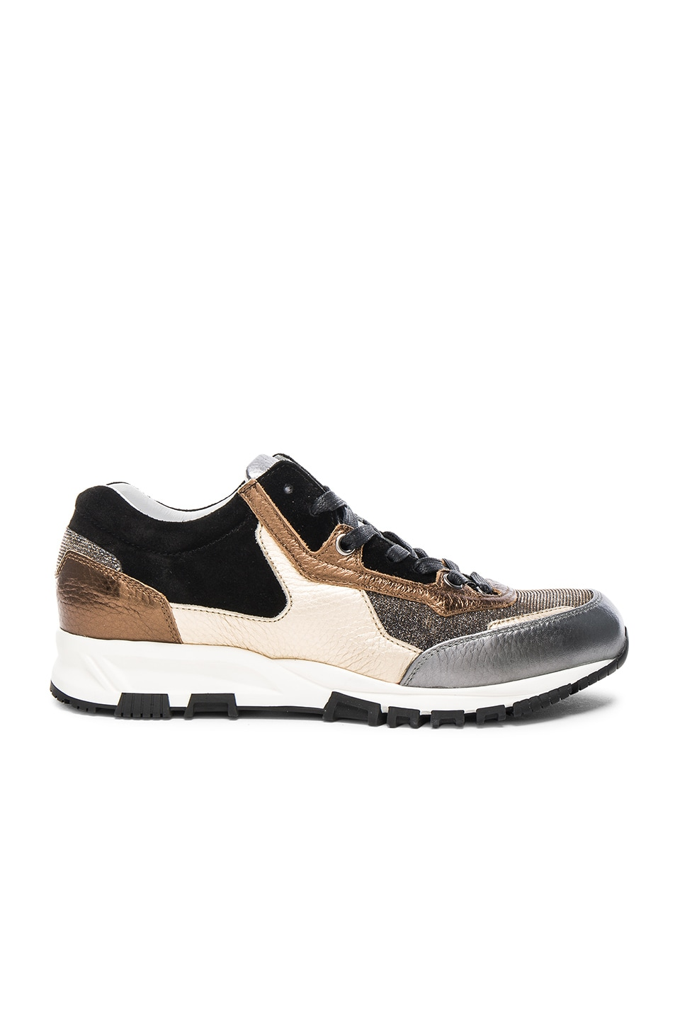 Image 1 of Lanvin Leather Running Sneakers in Silver