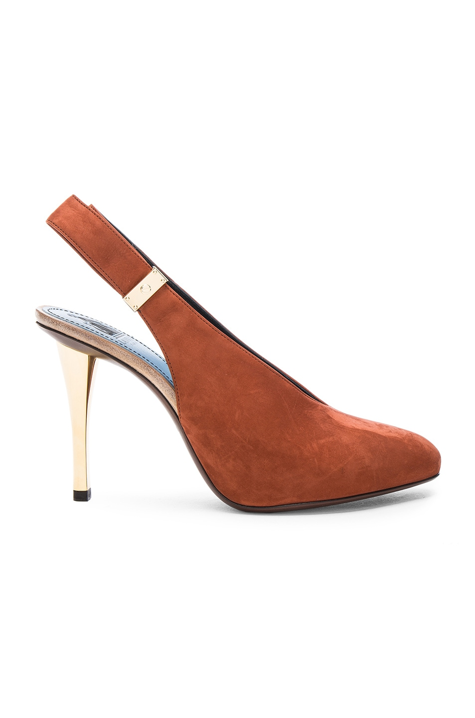 Image 1 of Lanvin Safe Lock Slingback Suede Pumps in Chestnut