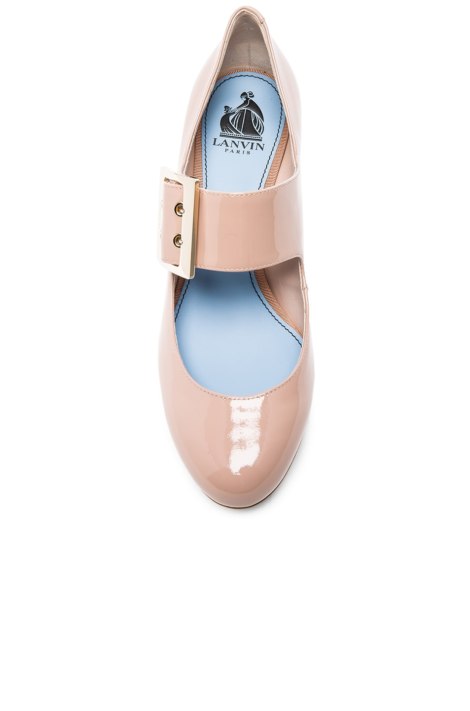 Image 4 of Lanvin Patent Leather Mary Jane Pumps in Powder