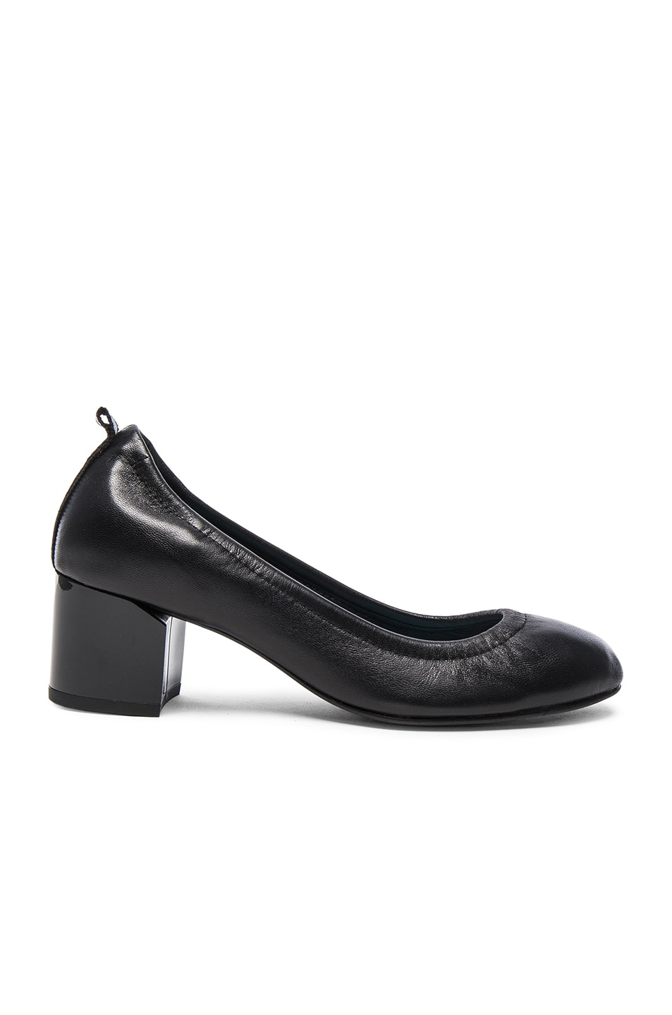 Image 1 of Lanvin Leather Ballerina Cube Heels in Black
