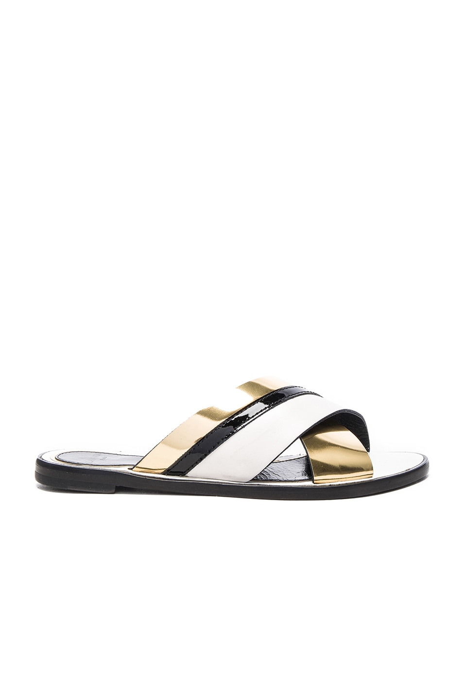 Image 1 of Lanvin Boucle Sandals in Gold & Ivory