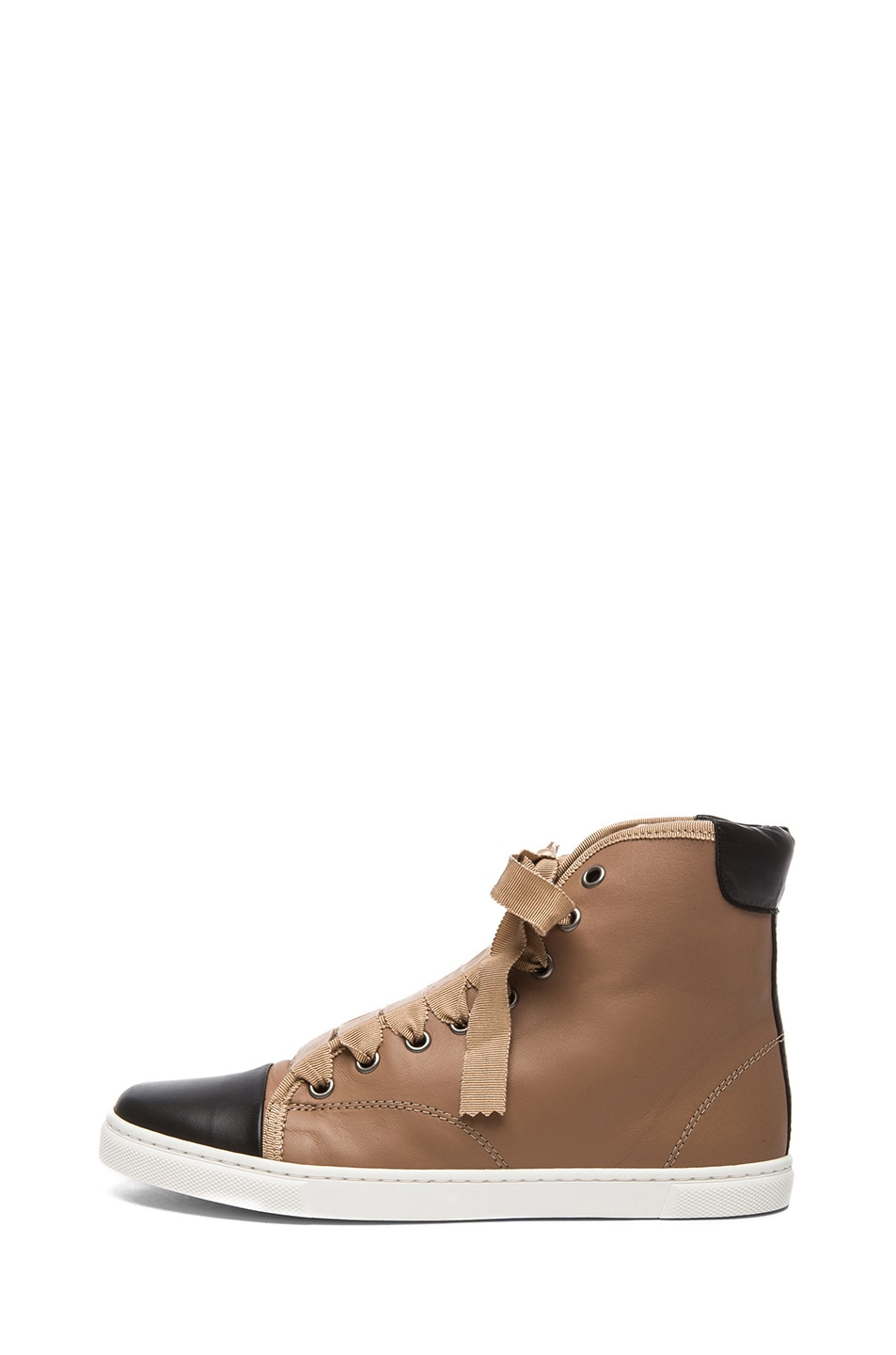 Image 1 of Lanvin Lambskin Leather High Top Sneaker in Moka