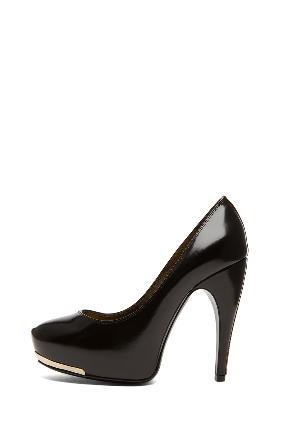 Image 1 of Lanvin Metal Plaque Shiny Calfskin Leather Pumps in Noir