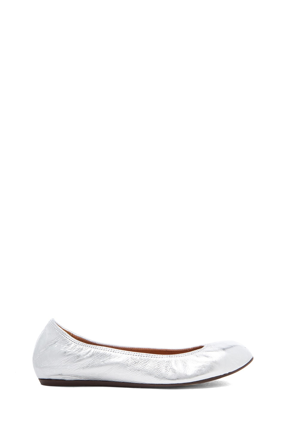Image 1 of Lanvin Cracked Calfskin Ballerina Flats in Silver