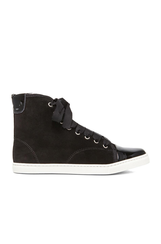Image 1 of Lanvin High Top Suede Sneakers in Black