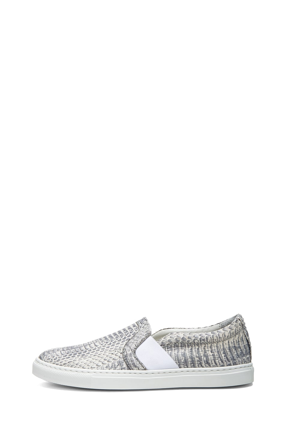 Image 1 of Lanvin Pull On Embossed Leather Sneakers in Grey